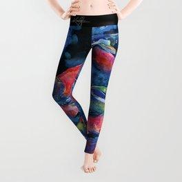 Sockeye Salmon Watercolor Painting Leggings
