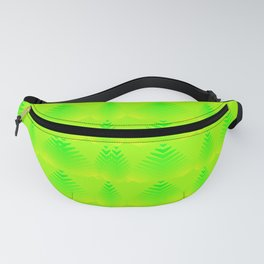 Pearlescent pattern of lime hearts and stripes on a green background. Fanny Pack