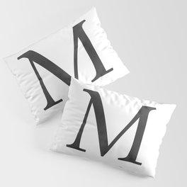 Letter M Initial Monogram Black and White Pillow Sham