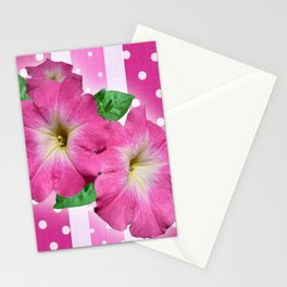 Petunias on Stripes Stationery Cards
