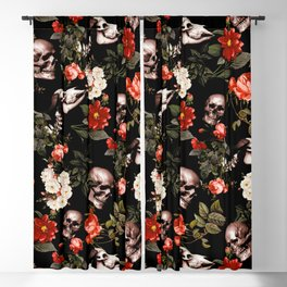 Floral and Skull Dark Pattern Blackout Curtain