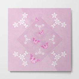 Delicate pink butterflies on a beautiful flower mandala Metal Print