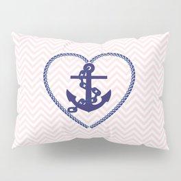 Blush pink chevron navy blue vintage nautical anchor Pillow Sham
