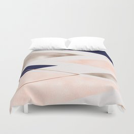 Rose gold french navy geometric Duvet Cover