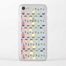 Rainbow Watercolor Bubble Tea Clear iPhone Case
