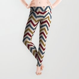 Funky Zigzag Pattern Gold Red Blue Cream Leggings