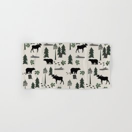 Camping woodland forest nature moose bear pattern nursery gifts Hand & Bath Towel