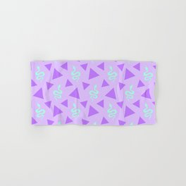 Crawling snakes silhouettes and abstract triangle shapes. Stylish classy whimsical artistic lilac purple retro vintage geometric animal nature pattern. Reptiles. Geometry. Hand & Bath Towel
