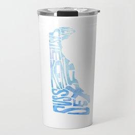 Typographic Delaware - blue watercolor map Travel Mug