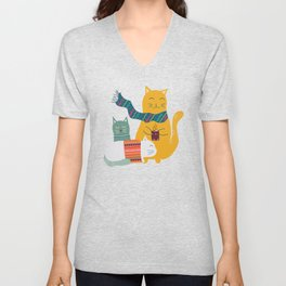 Cat cuddle -Hand Draw Unisex V-Neck