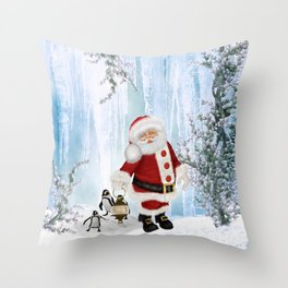 Santa Claus with funny penguin Throw Pillow