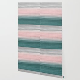 Touching Teal Blush Gray Watercolor Abstract #1 #painting #decor #art #society6 Wallpaper
