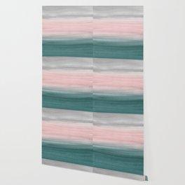 Touching Teal Blush Gray Watercolor Abstract #1 #painting #decor #art #society6 Wallpaper