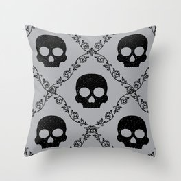 Skulls & Flowers - Silver Throw Pillow