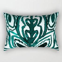 Turquoise Henna Watercolor Rectangular Pillow