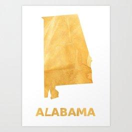 Alabama map outline Sunny yellow watercolor Art Print