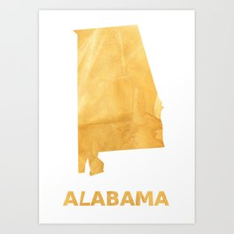 Alabama map outline Sunny yellow watercolor Art Print