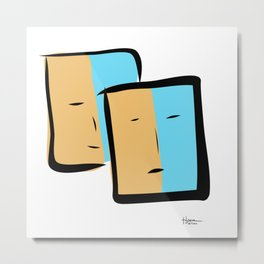 Two faces in two frames with light yellow and light blue backgrounds Metal Print
