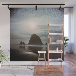 A Lonely Walk on Cannon Beach - Holga Film Photograph of Haystack Rock Wall Mural
