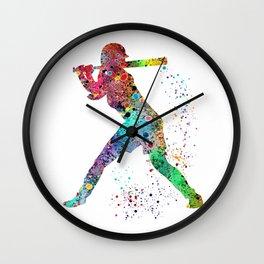 Baseball Softball Player Sports Art Print Watercolor Print Girl's softball Wall Clock
