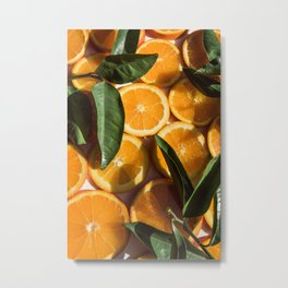 Orange Fruit Pattern Photography Metal Print