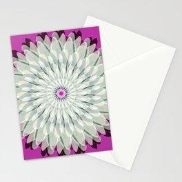 White dahlia Mandala on fuscia Stationery Cards