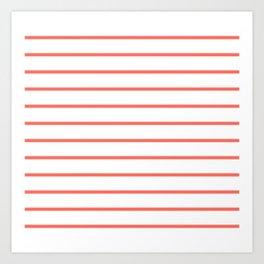 Living Coral Breton Stripes Art Print