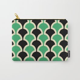 Classic Fan or Scallop Pattern 447 Black and Green Carry-All Pouch