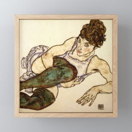 "Egon Schiele ""Reclining Woman with Green Stockings"" Framed Mini Art Print"