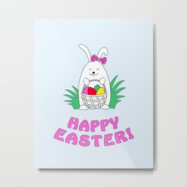happy easter with funny rabbit Metal Print