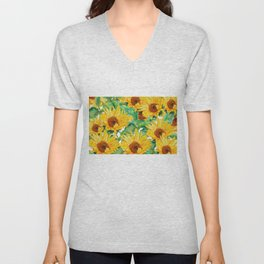 sunflower pattern Unisex V-Neck
