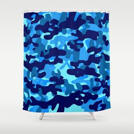 Camouflage (Blue) Shower Curtain