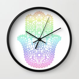 Rainbow Hamsa Wall Clock