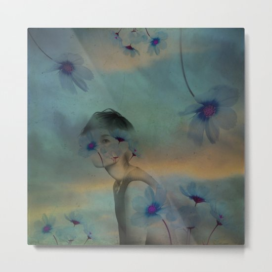 Woman hidden in a world of flowers Metal Print
