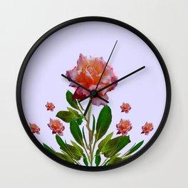 GREEN COLOR   CORAL  PINK ROSES BOTANICAL ART Wall Clock
