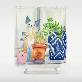 Windowsill still-life watercolour (cats and plants) Shower Curtain
