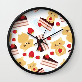 attern cute kawaii hamster with fresh Strawberry, cake decorated pink cream and chocolate Wall Clock