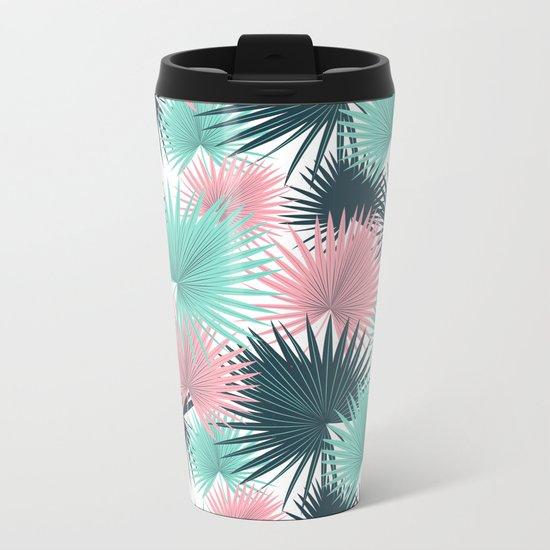 Pastel Palm Leaves Metal Travel Mug