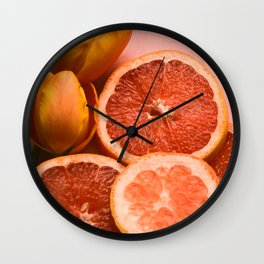 Citrus and Tulips Wall Clock