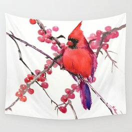 Red Cardinal and Berries, Christmas Red design Christmas Decor Gift Wall Tapestry