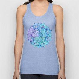 Iridescent Aqua and Purple Watercolor Mandala Unisex Tank Top