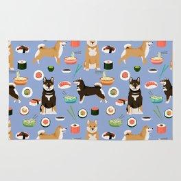 Shiba Inu noodles pho food cute dog art sushi dogs pet portrait pattern Rug