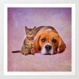 Beagle dog and kitten digital art Art Print