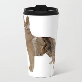German Shepherd Dog Image - Abstract Fluid Art Brown Travel Mug