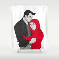 sterek Shower Curtains featuring Sterek - I'll protect you by Fidi