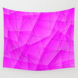 Abstract pattern of lilac and overlapping triangles and dark irregular lines. Wall Tapestry