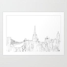 Bristol, UK Skyline B&W - Thin Line Art Print