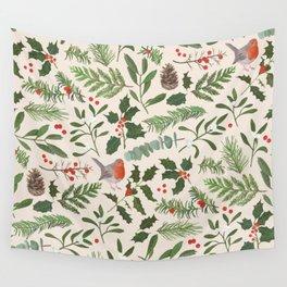 Robin in a Winter Garden Wall Tapestry