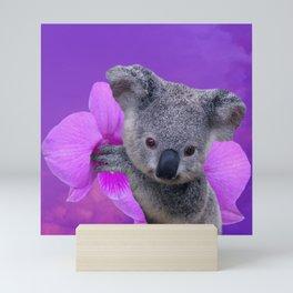 Koala and Orchid Mini Art Print