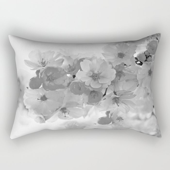 CHERRY BLOSSOMS GRAY AND WHITE Rectangular Pillow